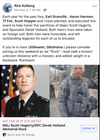 MAJ Scott Hagerty/SPC Derek Holland Memorial Ruck